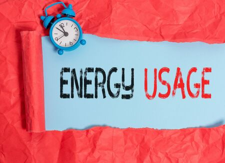 Word writing text Energy Usage. Business photo showcasing Amount of energy consumed or used in a process or system