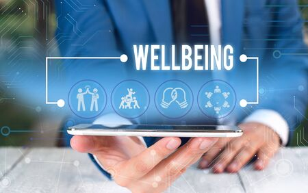 Word writing text Wellbeing. Business photo showcasing A good or satisfactory condition of existence including health Male human wear formal work suit presenting presentation using smart device