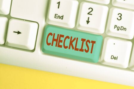 Word writing text Checklist. Business photo showcasing List down of the detailed activity as guide of doing something White pc keyboard with empty note paper above white background key copy space