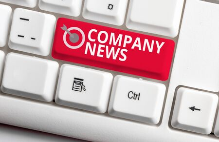 Handwriting text writing Company News. Conceptual photo Latest Information and happening on a business Corporate Report White pc keyboard with empty note paper above white background key copy space