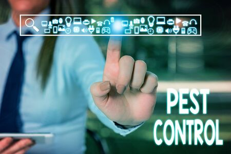 Handwriting text writing Pest Control. Conceptual photo Killing destructive insects that attacks crops and livestock Woman wear formal work suit presenting presentation using smart device