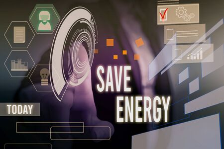 Conceptual hand writing showing Save Energy. Concept meaning decreasing the amount of power used achieving a similar outcome Woman wear work suit presenting presentation smart device Zdjęcie Seryjne