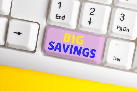 Handwriting text Big Savings. Conceptual photo income not spent or deferred consumption putting money aside White pc keyboard with empty note paper above white background key copy space Zdjęcie Seryjne