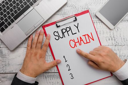 Writing note showing Supply Chain. Business concept for System of organization and processes from supplier to consumer