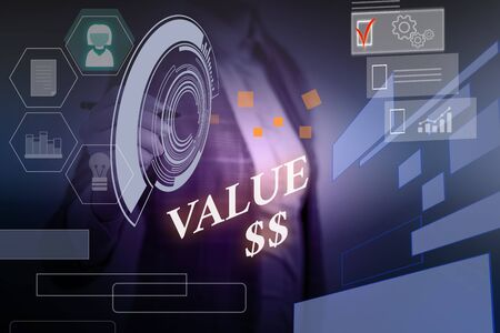 Word writing text Value Dolar. Business photo showcasing the worth of the process id of the currently running process Woman wear formal work suit presenting presentation using smart device