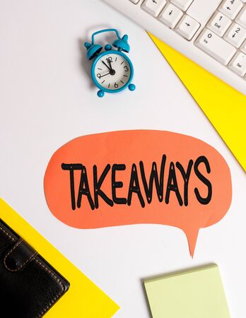 Word writing text Takeaways. Business photo showcasing An act or instance of giving something from you to someone Flat lay with copy space on bubble paper clock and paper clips Stok Fotoğraf