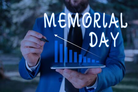 Word writing text Memorial Day. Business photo showcasing To honor and remembering those who died in military service Male human wear formal work suit presenting presentation using smart device