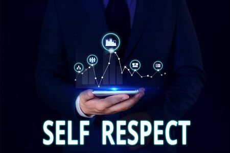 Text sign showing Self Respect. Business photo showcasing Pride and confidence in oneself Stand up for yourself Male human wear formal work suit presenting presentation using smart device 写真素材
