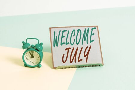 Text sign showing Welcome July. Business photo text Calendar Seventh Month 31days Third Quarter New Season Фото со стока