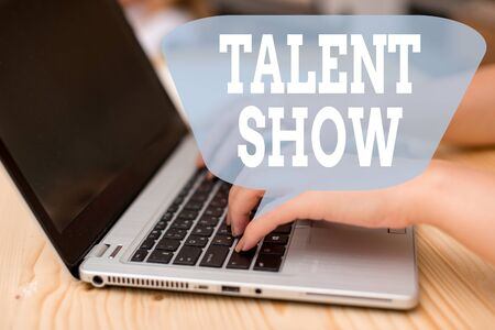 Conceptual hand writing showing Talent Show. Concept meaning Competition of entertainers show casting their perforanalysisces woman with laptop smartphone and office supplies technology