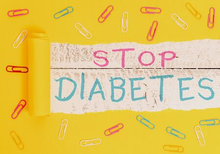Writing note showing Stop Diabetes. Business concept for Blood Sugar Level is higher than normal Inject Insulin