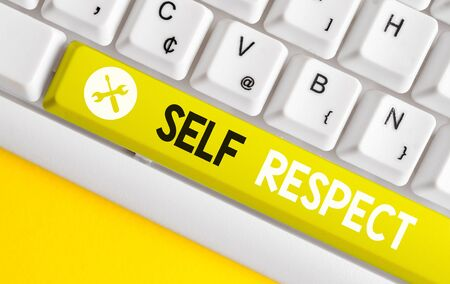 Conceptual hand writing showing Self Respect. Concept meaning Pride and confidence in oneself Stand up for yourself White pc keyboard with note paper above the white background
