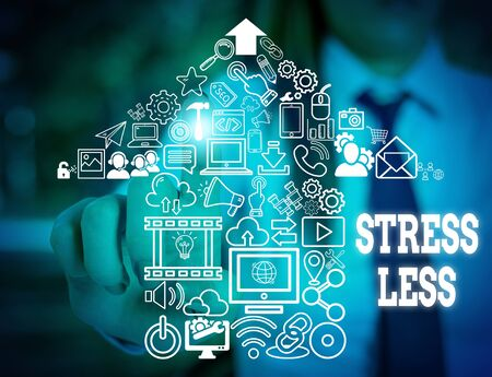Handwriting text writing Stress Less. Conceptual photo Stay away from problems Go out Unwind Meditate Indulge Oneself Woman wear formal work suit presenting presentation using smart device 版權商用圖片