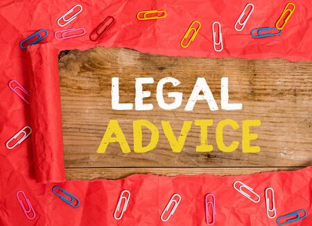 Word writing text Legal Advice. Business photo showcasing Lawyer opinion about law procedure in a particular situation