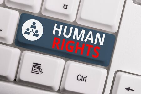 Text sign showing Huanalysis Rights. Business photo showcasing Moral Principles Standards Norms of a showing protected by Law White pc keyboard with empty note paper above white background key copy sp 写真素材