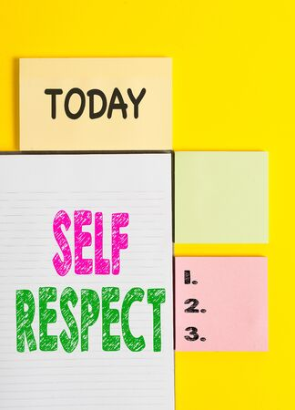 Word writing text Self Respect. Business photo showcasing Pride and confidence in oneself Stand up for yourself Colored empty papers with copy space on the yellow background table