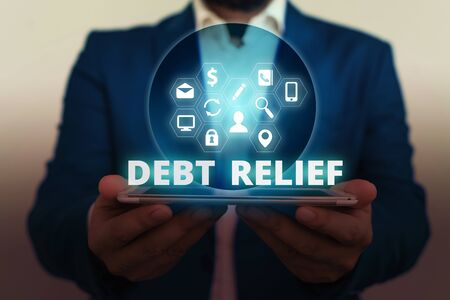 Text sign showing Debt Relief. Business photo showcasing partial or total remission of it especially those by countries
