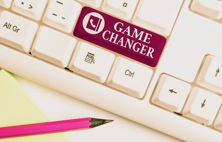 Word writing text Game Changer. Business photo showcasing Sports Data Scorekeeper Gamestreams Live Scores Team Admins White pc keyboard with empty note paper above white background key copy space Stock Photo