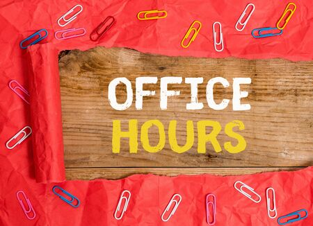Word writing text Office Hours. Business photo showcasing The hours which business is normally conducted Working time