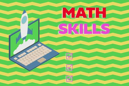 Word writing text Math Skills. Business photo showcasing starting to learn how to count numbers add divide use equation Rocket launching clouds laptop background. Startup project growing. SEO