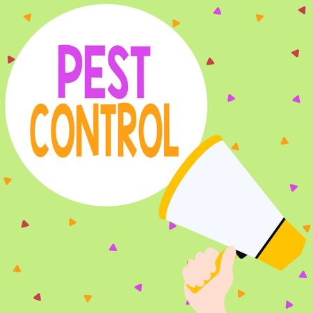 Handwriting text writing Pest Control. Conceptual photo Killing destructive insects that attacks crops and livestock Hand Holding Loudhailer Empty Round Speech Text Balloon Announcement New