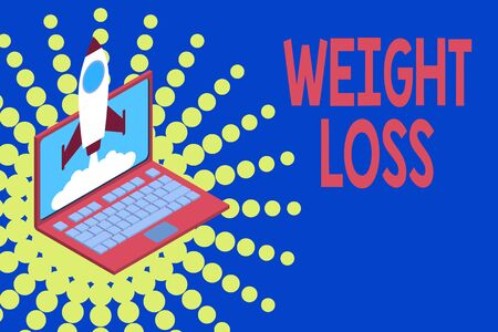 Conceptual hand writing showing Weight Loss. Concept meaning Decrease in Body Fluid Muscle Mass Reduce Fat Dispose Tissue Rocket launching clouds laptop Startup project growing SEO Banco de Imagens