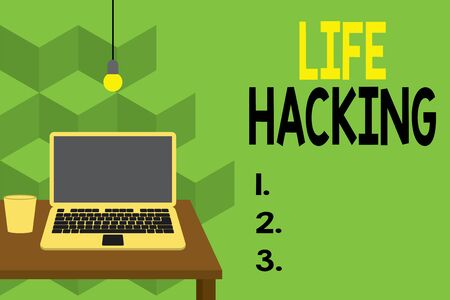 Text sign showing Life Hacking. Business photo text Simple and clever techniques in accomplishing task easily Front view open laptop lying on wooden desktop light bulb falling glass