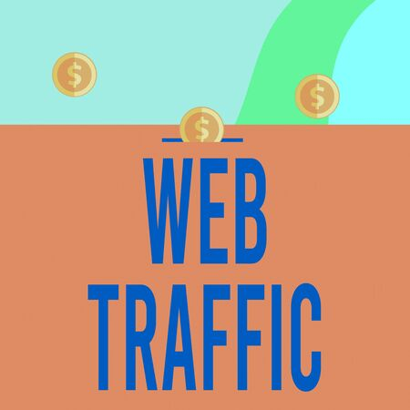 Text sign showing Web Traffic. Business photo showcasing Amount of data sent and received by visitors to a website Three gold spherical coins value thousand dollars one bounce to piggy bank
