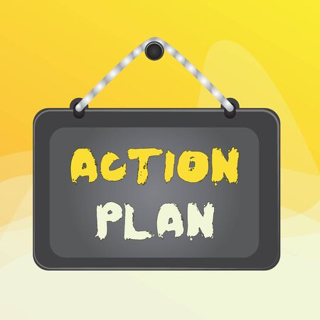 Writing note showing Action Plan. Business concept for list of things or schedule to be made thia current year Board fixed nail frame colored background rectangle panel