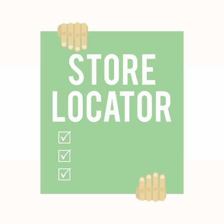 Writing note showing Store Locator. Business concept for to know the address contact number and operating hours Two hands holding big blank rectangle up down Geometrical background Stock fotó