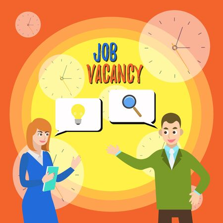 Text sign showing Job Vacancy. Business photo text empty or available paid place in small or big company Business Partners Colleagues Jointly Seeking Problem Solution Generate Idea