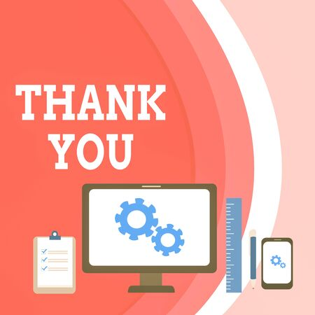 Conceptual hand writing showing Thank You. Concept meaning a polite expression used when acknowledging a gift or service Business Concept PC Monitor Mobile Device Clipboard Ruler Stok Fotoğraf