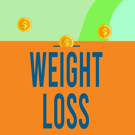 Text sign showing Weight Loss. Business photo showcasing Decrease in Body Fluid Muscle Mass Reduce Fat Dispose Tissue Three gold spherical coins value thousand dollars one bounce to piggy bank Banco de Imagens
