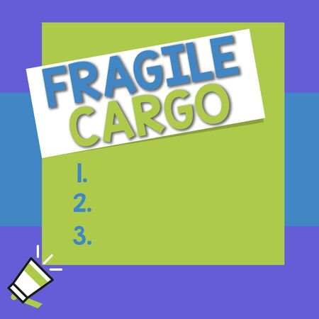 Conceptual hand writing showing Fragile Cargo. Concept meaning Breakable Handle with Care Bubble Wrap Glass Hazardous Goods Big square rectangle stick above small megaphone left down corner Imagens