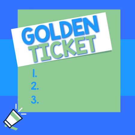 Conceptual hand writing showing Golden Ticket. Concept meaning Rain Check Access VIP Passport Box Office Seat Event Big square rectangle stick above small megaphone left down corner Imagens