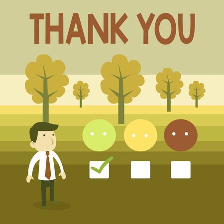 Conceptual hand writing showing Thank You. Concept meaning a polite expression used when acknowledging a gift or service White Questionnaire Survey Choice Satisfaction Green Tick