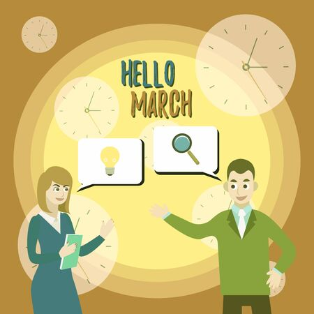 Text sign showing Hello March. Business photo text musical composition usually in duple or quadruple with beat Business Partners Colleagues Jointly Seeking Problem Solution Generate Idea Imagens