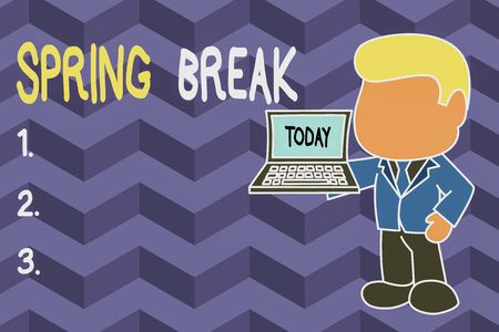 Word writing text Spring Break. Business photo showcasing Vacation period at school and universities during spring Standing professional businessman holding open laptop right hand side