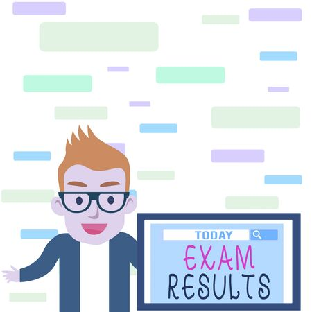 Writing note showing Exam Results. Business concept for An outcome of a formal test that shows knowledge or ability Male Speaker Monitor with Search Tool on Screen Presentation or Report