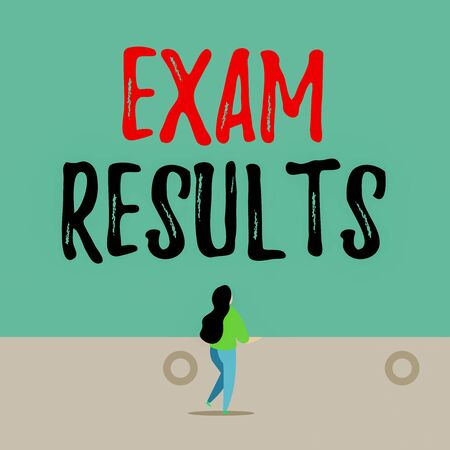 Handwriting text writing Exam Results. Conceptual photo An outcome of a formal test that shows knowledge or ability Back view young long hair woman holding big blank square announcement