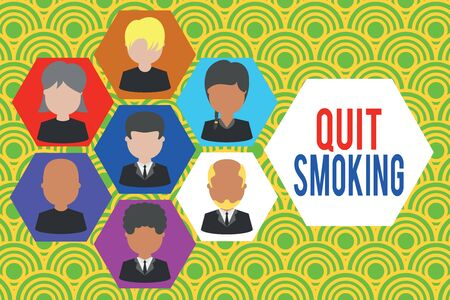 Writing note showing Quit Smoking. Business concept for Discontinuing or stopping the use of tobacco addiction Picture frames CEO and staff Organization employee structure