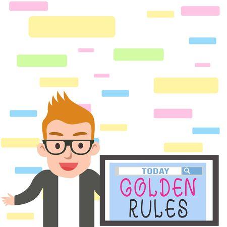Pisanie notki pokazującej Złote Zasady. Koncepcja biznesowa dla Podstawowej zasady, której należy przestrzegać Ważna zasada Męski monitor głośnikowy z narzędziem wyszukiwania na ekranie prezentacji lub raportu