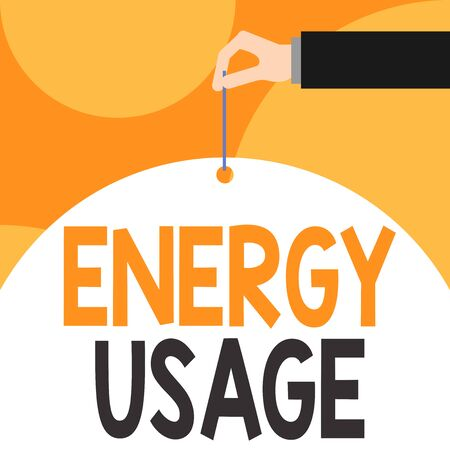 Text sign showing Energy Usage. Business photo showcasing Amount of energy consumed or used in a process or system Male hand arm needle punching big half blank balloon geometrical background