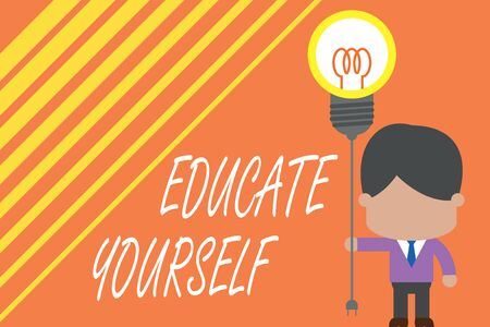 Word writing text Educate Yourself. Business photo showcasing prepare oneself or someone in a particular area or subject Standing man tie holding plug socket light bulb to connect idea. Startup Banco de Imagens