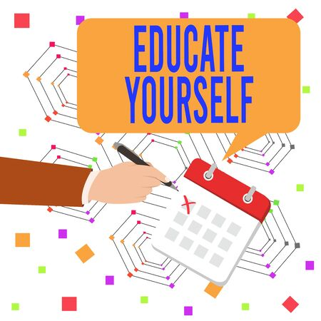 Conceptual hand writing showing Educate Yourself. Concept meaning prepare oneself or someone in a particular area or subject Formal Suit Crosses Off One Day Calendar Red Ink Ballpoint Pen