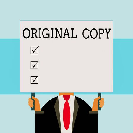 Writing note showing Original Copy. Business concept for Main Script Unprinted Branded Patented Master List Just man chest dressed dark suit tie holding big rectangle