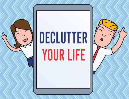 Writing note showing Declutter Your Life. Business concept for To eliminate extraneous things or information in life Male and Female Index Fingers Up Touch Screen Tablet Smartphone Device