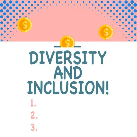Handwriting text Diversity And Inclusion. Conceptual photo range huanalysis difference includes race ethnicity gender Front view close up three penny coins icon one entering collecting box slot
