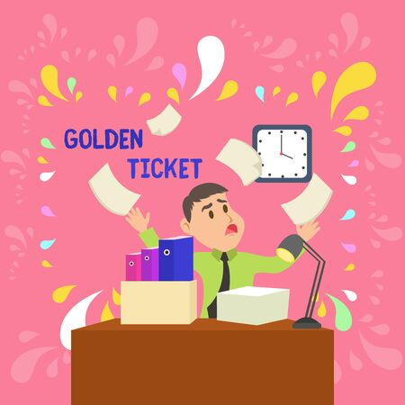 Word writing text Golden Ticket. Business photo showcasing Rain Check Access VIP Passport Box Office Seat Event Confused Male Employee Manager Cluttered Workspace Overflow Time Shortage