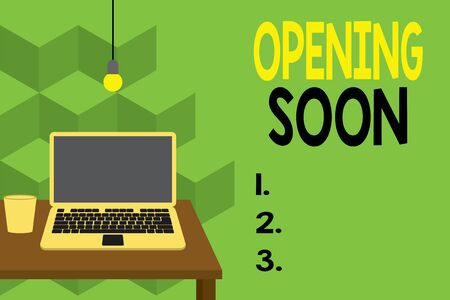 Text sign showing Opening Soon. Business photo text Going to be available or accessible in public anytime shortly Front view open laptop lying on wooden desktop light bulb falling glass